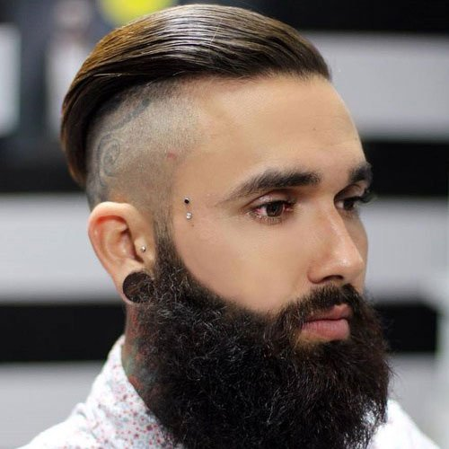 Long Slick Top + Shaved Sides + Long Beard