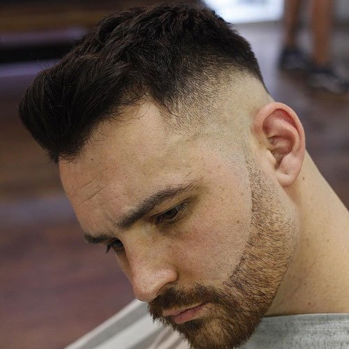 Low Skin Fade + Thick Top + Side Swept Fringe
