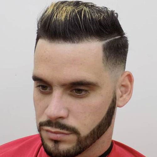 Low Taper Fade with Hard Part and Brush Up