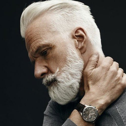 Old Man Haircut - Textured Slicked Back Undercut + White Hair + Beard