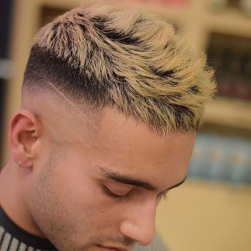 Short Blonde Crop Top with High Razor Fade