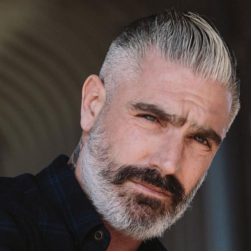 Short Haircuts For Older Men - Taper Fade + Slicked Back Hair