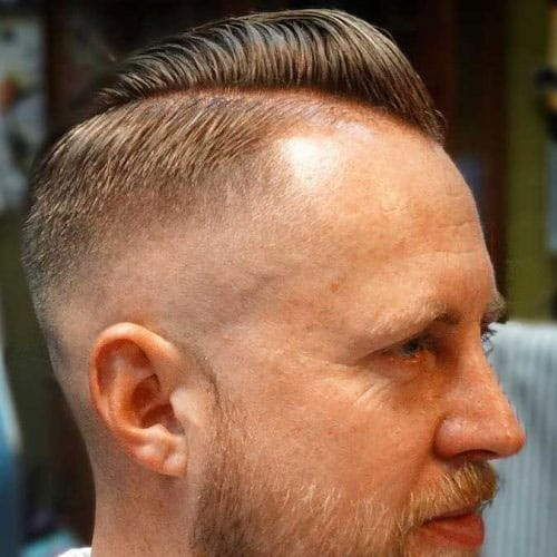 Thin Hair Comb Over Pomp + Skin Fade + Beard