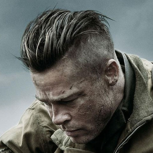 Fantastic Brad Pitt Fury Hairstyle Mens Hairstyles Haircuts 2017 Hairstyles For Men Maxibearus