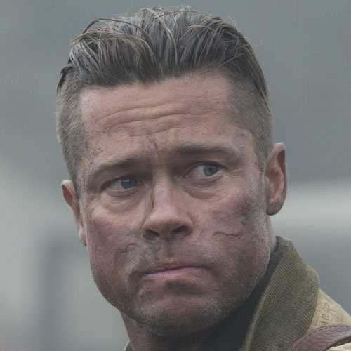Brad Pitt Fury Hairstyle | Men's Hairstyles + Haircuts 2017