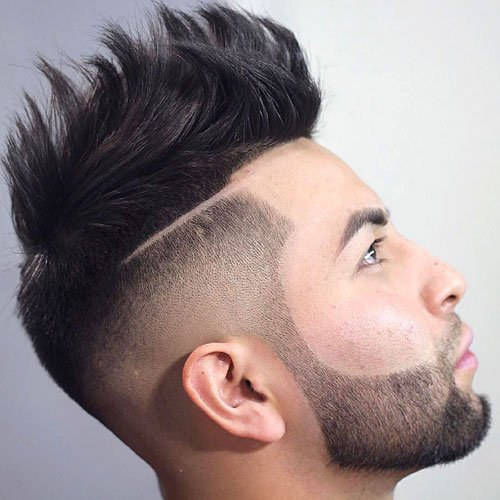 High Fade with Half Hard Part and Messy Spiky Hair