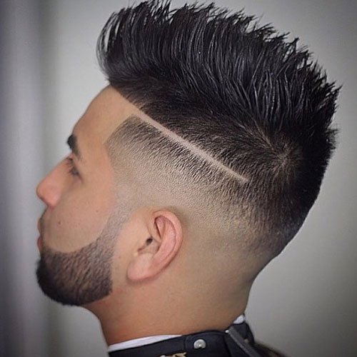 High Fade with Hard Part and Spiked Hair