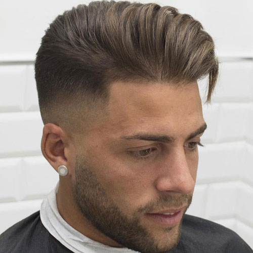 High Fade with Long Textured Hair Combed Over