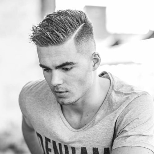 High Fade with Spiked Side Part