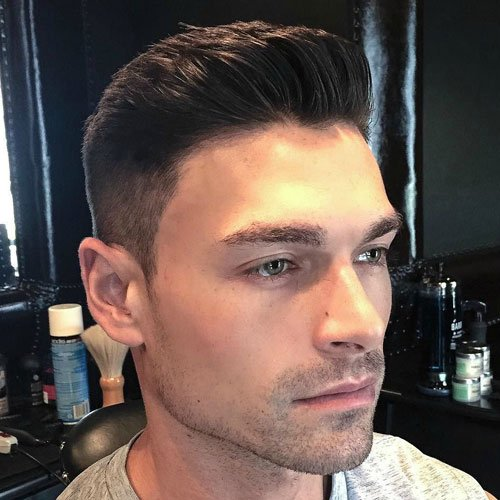 High Taper Fade with Brush Up