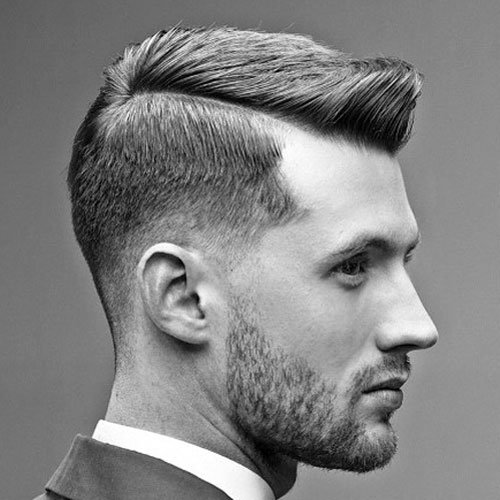 Low Fade with Side Part and Brush Up