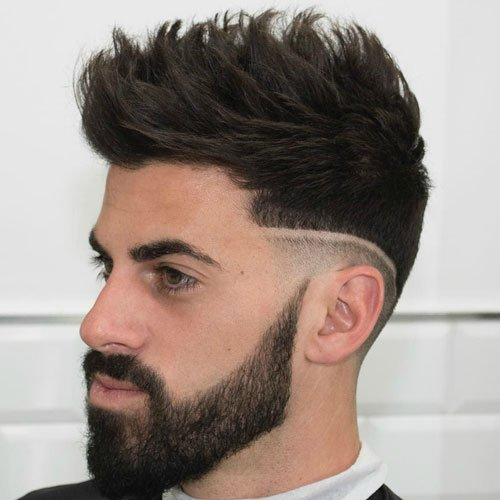 Mid Fade with Hard Part and Textured Spiky Hair