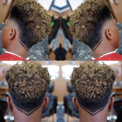 Skin Taper Fade with Blonde Curly Sponge Twists