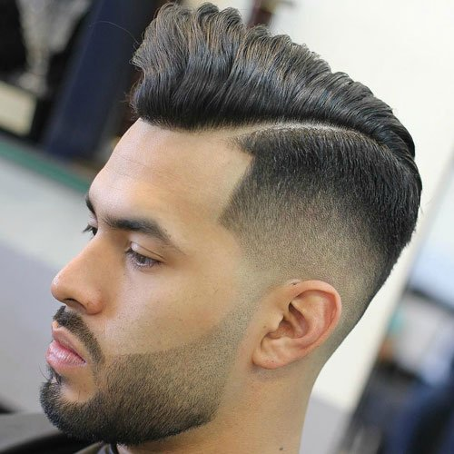 Taper Fade with Hard Part and Pomp