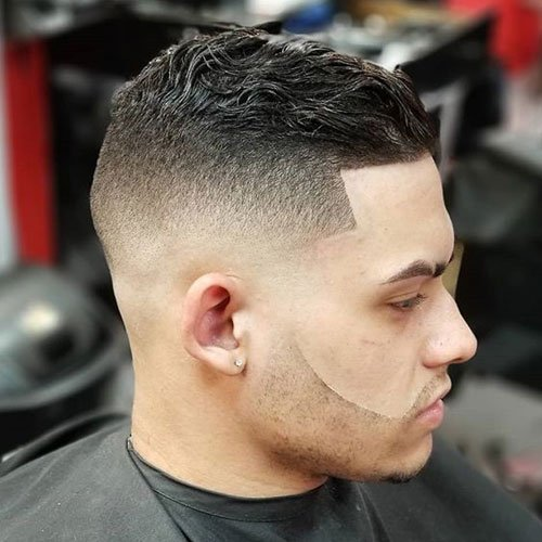 Bald Fade + Line Up + Short Wavy Slicked Back Hair