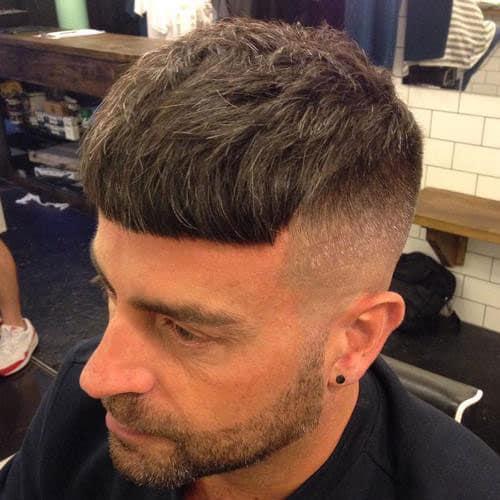 Long Caesar Haircut with High Fade