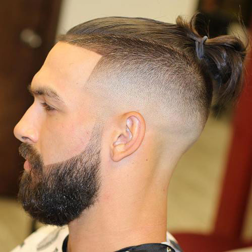 Man Bun with Shaved Sides + Beard