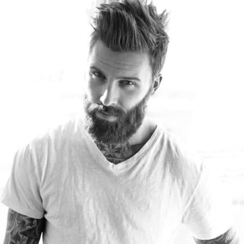 Manly Haircut and Thick Beard - Short Sides with Long Spiked Hair