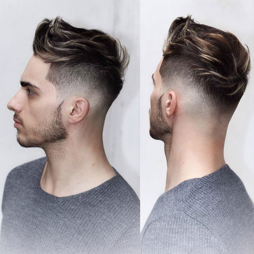 Low Taper Fade With Quiff And Thin Beard