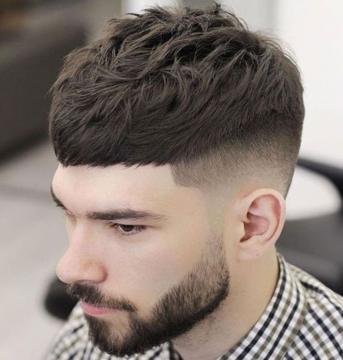Short Caesar Cut with Fade Haircut on Sides and Back