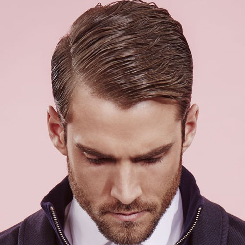 Classy Men's Haircut - Hard Side Part with Beard