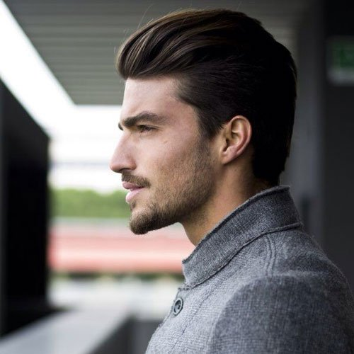 Classy Men's Haircuts - Brushed Back Straight Hair