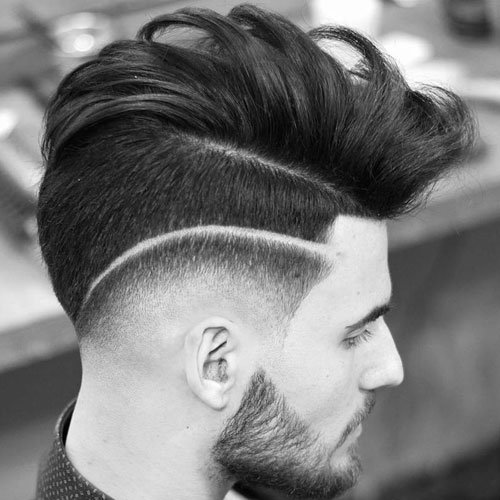 Cute Guy Haircut - Drop Fade and Surgical Part with Long Combed Over Hair