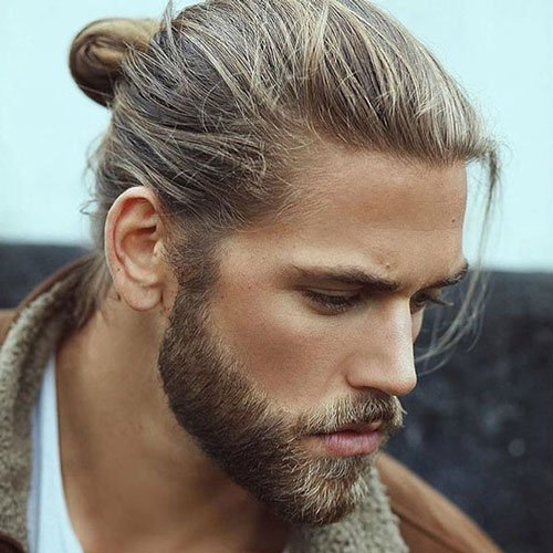 Pretty Boy Hairstyles - Man Bun With Beard