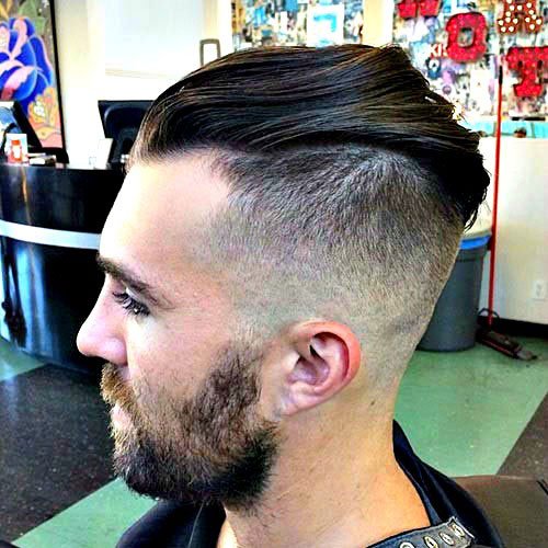 Frat Haircut - High Skin Fade with Slick Back and Beard