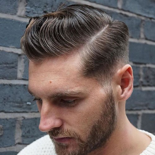 Low Fade with Side Part Hair