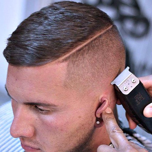 Barbershop Haircuts - High Bald Fade and Part with Crew Cut