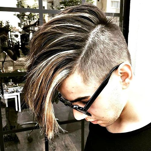 Barbershop Hairstyles - Undercut with Long Side Swept Hair