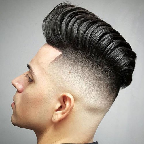 Hairstyles For Round Faces - High Skin Fade with Pompadour