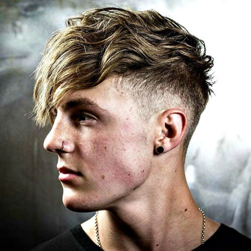 Hairstyles for Triangular Face Shapes - Mid Fade with Angular Fringe