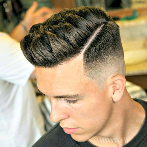 Best Hairstyles For Men - Spiky Hair with Hard Part and Skin Fade