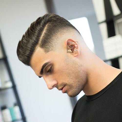 Comb Over with Hard Part and Low Skin Fade