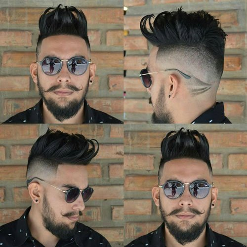 High Fade with Spiky Hair and Beard