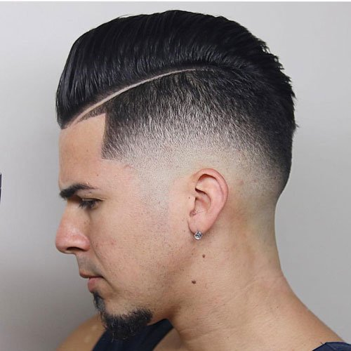 High Skin Fade with Shape Up and Comb Over