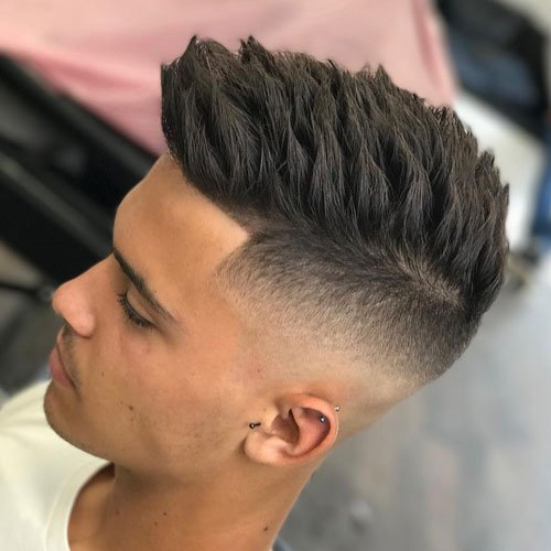 Marvelous High Skin Temple Fade With Textured Spiky Hair