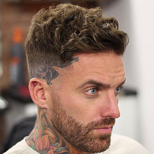 Low Bald Fade and Curly Crew Cut with Side Sweep
