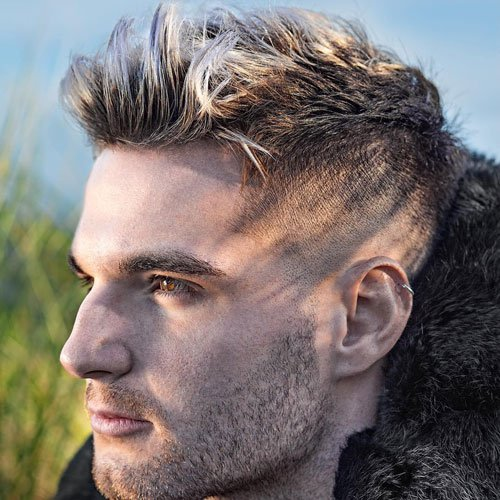 Low Taper Fade with Quiff and Spiky Bangs