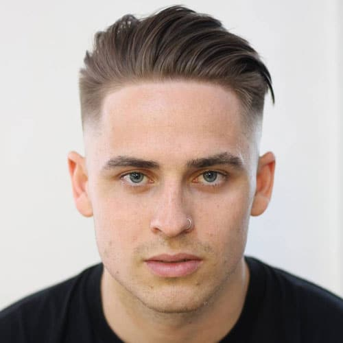 Mid Fade with Angular Comb Over