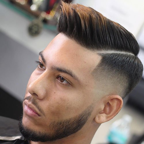 Mid Taper Fade with Line Up and Hard Part