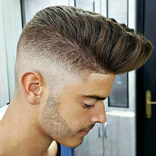 Por Men S Haircuts Pompadour With High Skin Fade