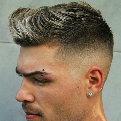 Elegant Skin Fade With Quiff And Brush Up