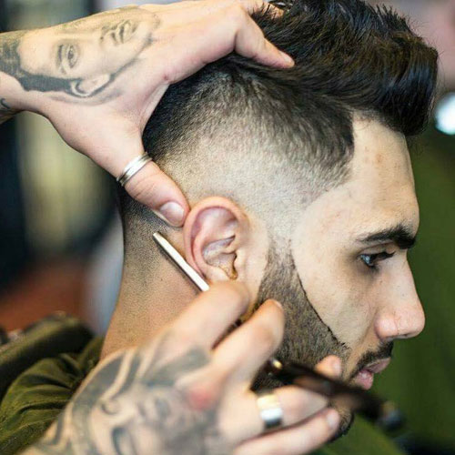 Spiky Hair with Razor Fade