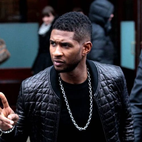 Usher Burst Fade Haircut with Mohawk