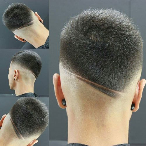 Bald Fade with Crew Cut and Hair Design