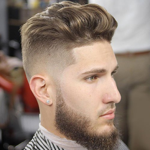 Brushed Up Medium-Length Hair with Beard