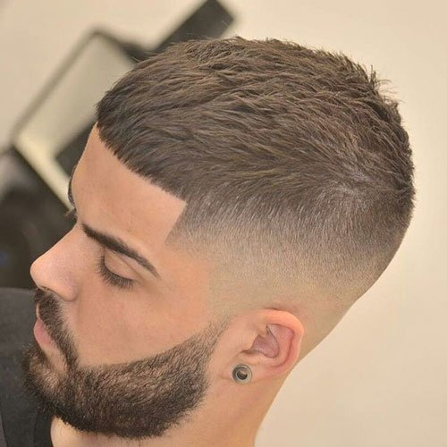 Caesar Cut with Bald Fade
